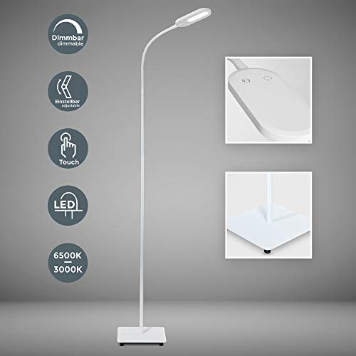 LED Stehlampe weiss dimmbar I inkl. 8W 600lm LED Platine I Stehleuchte I 3000K   6000K warmweiss   kaltweiss | memory & Touch Funktion
