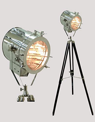 Hollywood Nautical Theater Spotlight Stehlampe Stativ Holz Schwarz