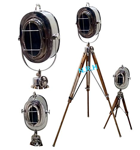 Hollywood Theater Searchlight Nautical Spotlight Stehlampe Stehlampe Holz Ständer 2er-Set