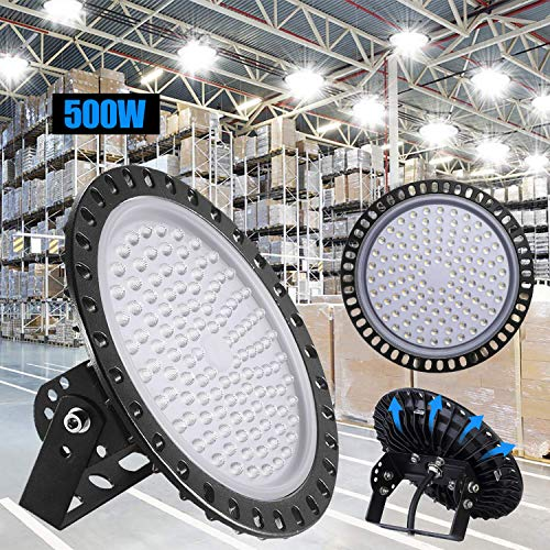 500W LED UFO Industrielampe,Xgody 5000LM LED Hallenstrahler,Ultra Slim High Bay Licht Kaltweiss 6000 6500K,IP65 Hallenleuchte Industrial Kronleuchter Werkstattbeleuchtung für Fabrikhallen