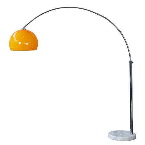 Design Bogenlampe LOUNGE DEAL orange Marmorfuss 175   205cm ausziehbar